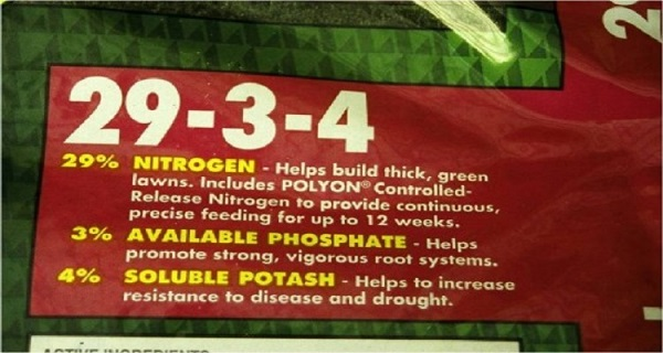 Fertilizer label.